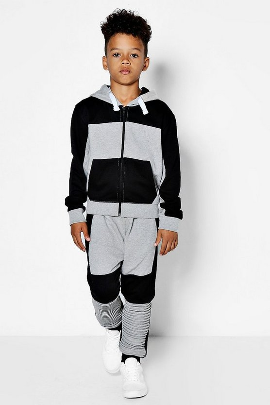 Boys Colour block Biker Detail Tracksuit