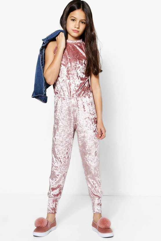 Girls High Neck Velour Jumpsuit