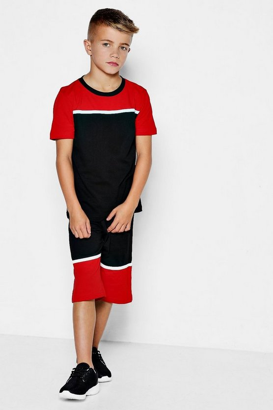 Boys Colour Block T-Shirt & Shorts Set