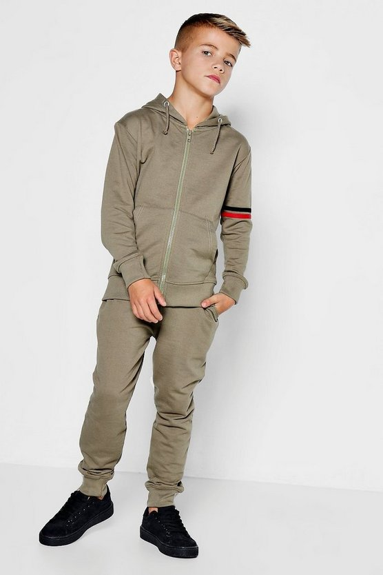 Boys Printed Sleeve Hooded Tracksuit Set