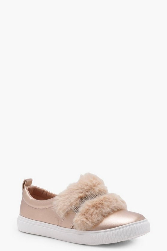Girls Faux Fur And Diamante Trim Skater
