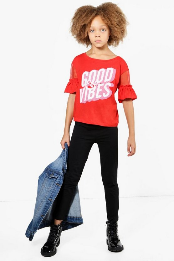Womens Red Girls Mesh Flute Sleeve Good Vibes Set