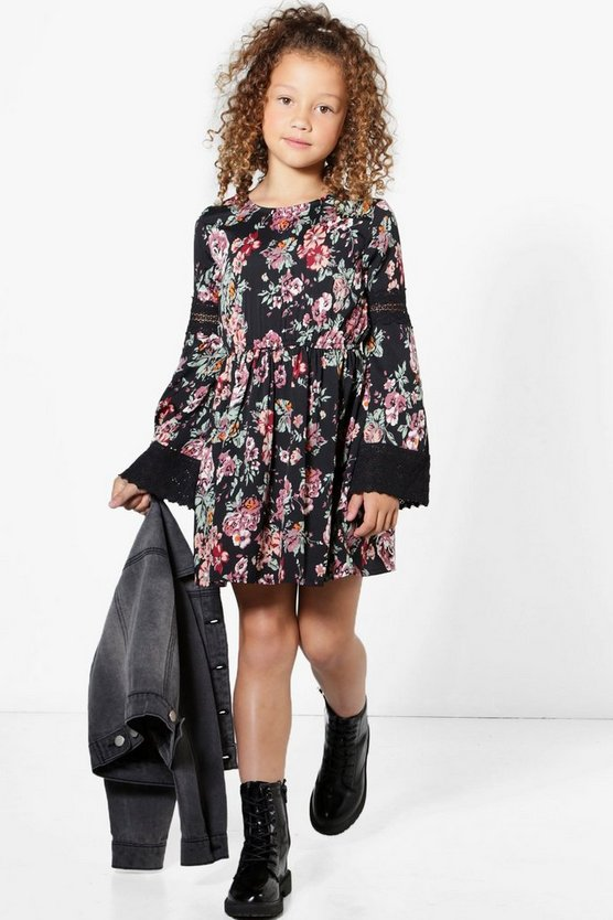 Girls Floral Lace Wide Sleeve Dress