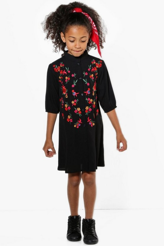 Girls Embroidered Shirt Dress