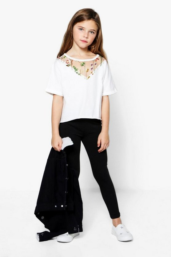 Girls Embroidered Mesh Crop Tee & Legging Set