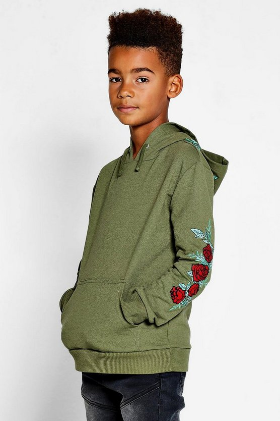 Boys Embroidered Floral Hoodie