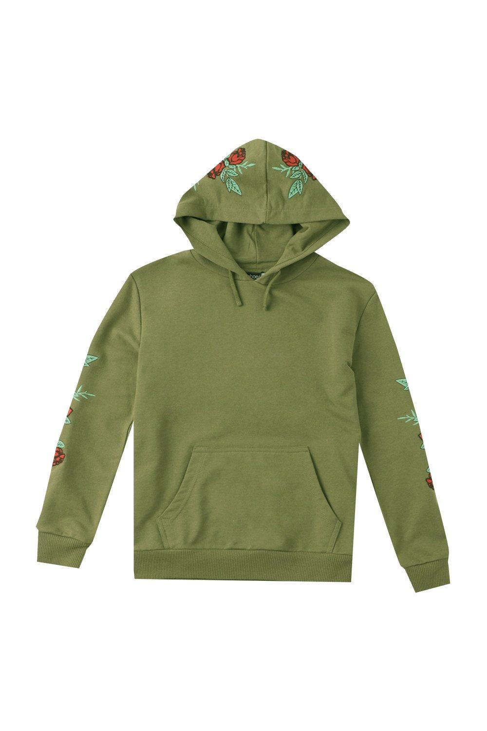 Boohoo mens boys embroidered floral hoodie in khaki size