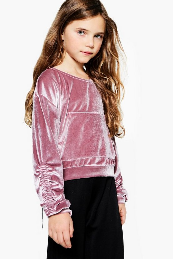 Girls Velour Rouched Velvet Crop Sweat Top