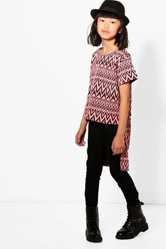 Girls Aztec Step Back Hem Top