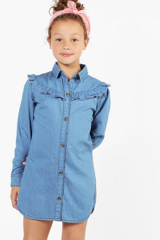 Girls Ruffle Denim Shirt Dress