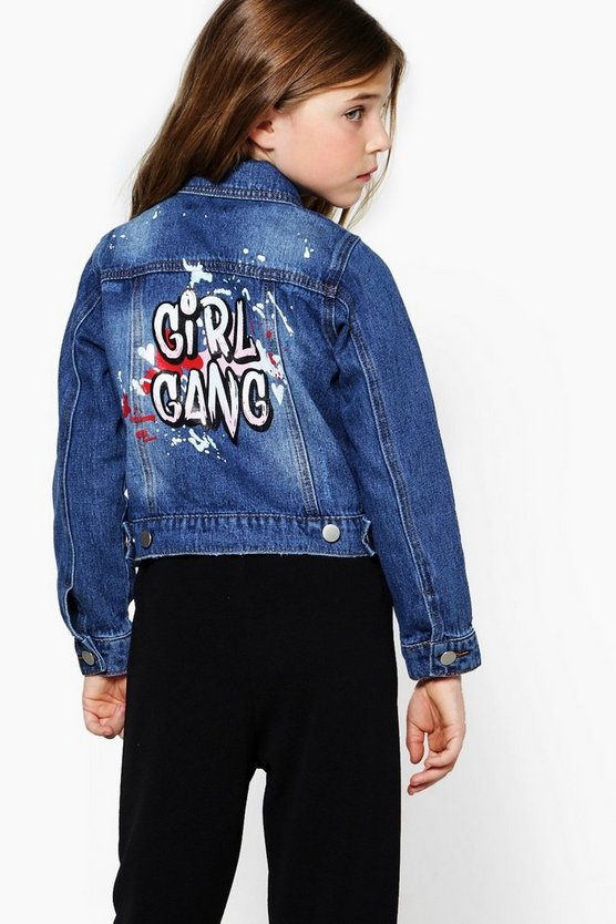 Girls Slogan Back Denim Jacket