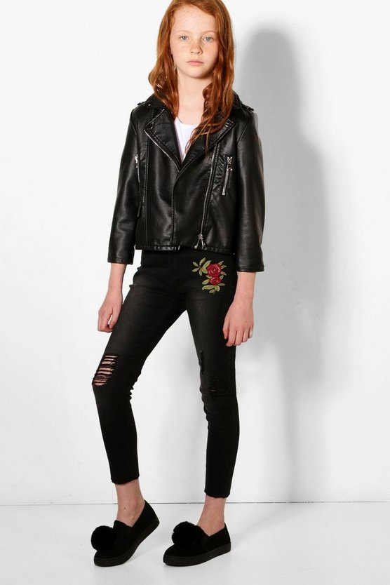 Womens Black Girls Skinny Jeans With Embroidery