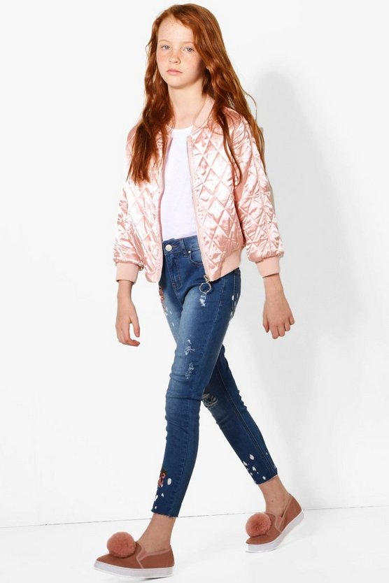 Girls Embroidered Skinny Ripped Knee Jeans