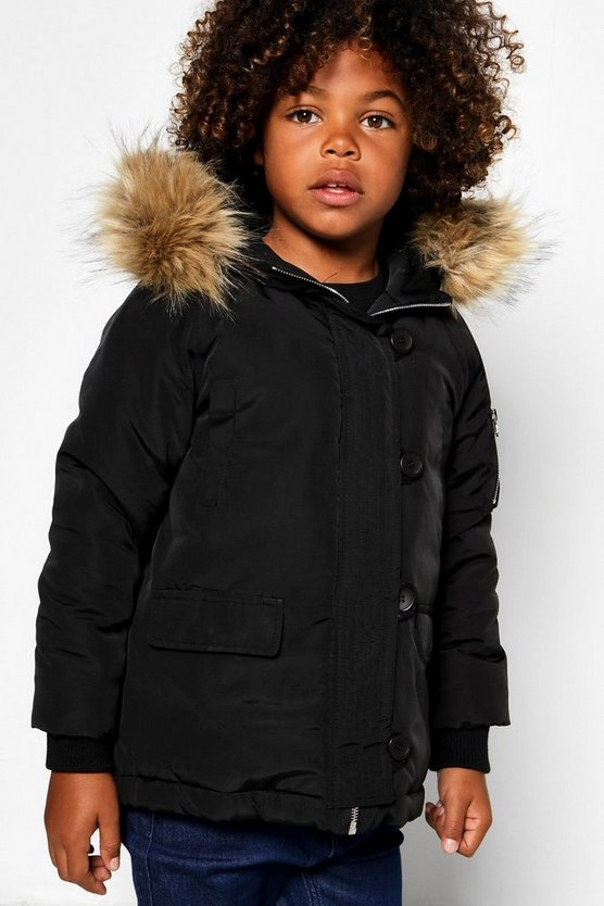 Boys Faux Fur Hooded Parka