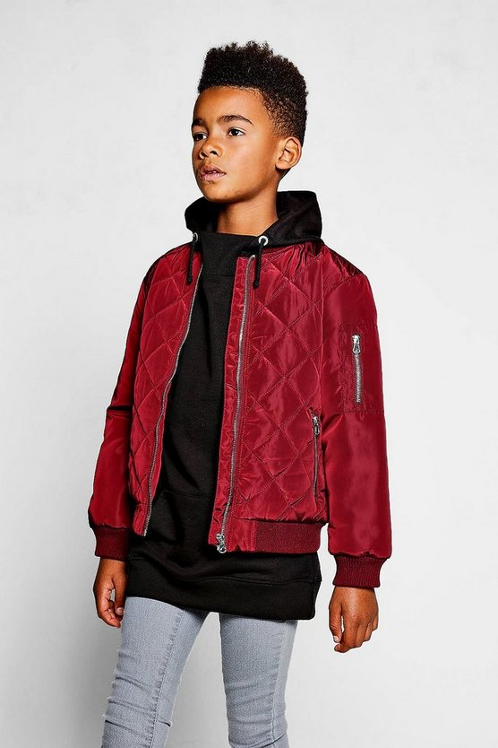 Boys Diamond Quilt Bomber Jacket