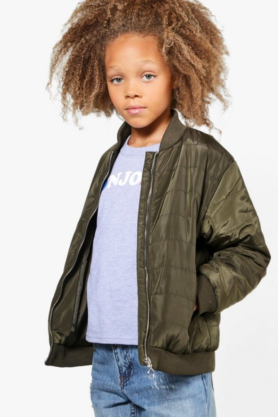 Girls Longline Padded Bomber Jacket