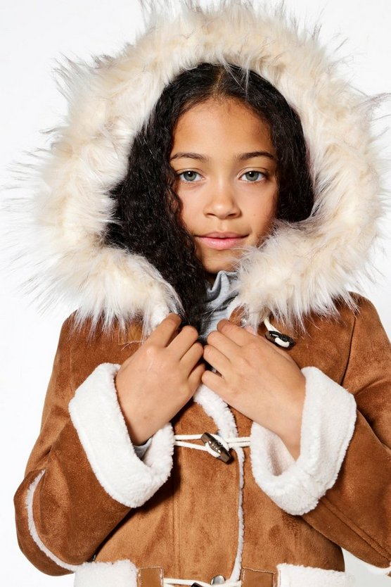 Girls Bonded Suedette Duffle Coat