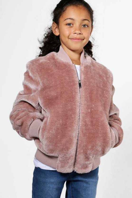 Girls Faux Fur Bomber Jacket