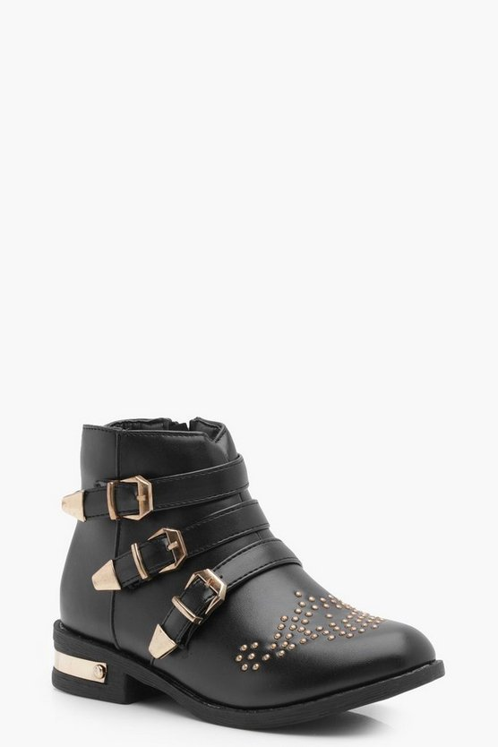 Girls Stud and Buckle Trim Boot