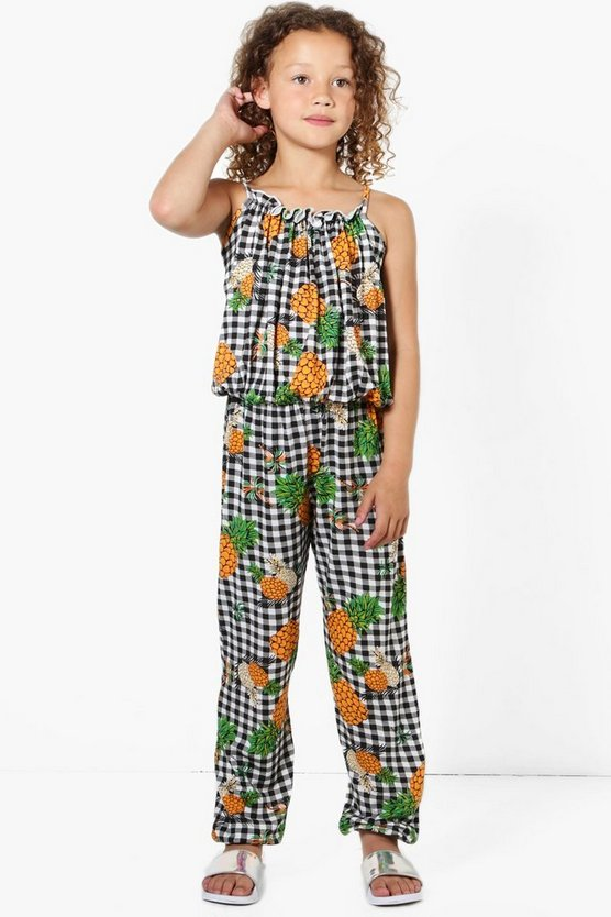 Girls Ruffle Gingham Pineapple Jumpsuit