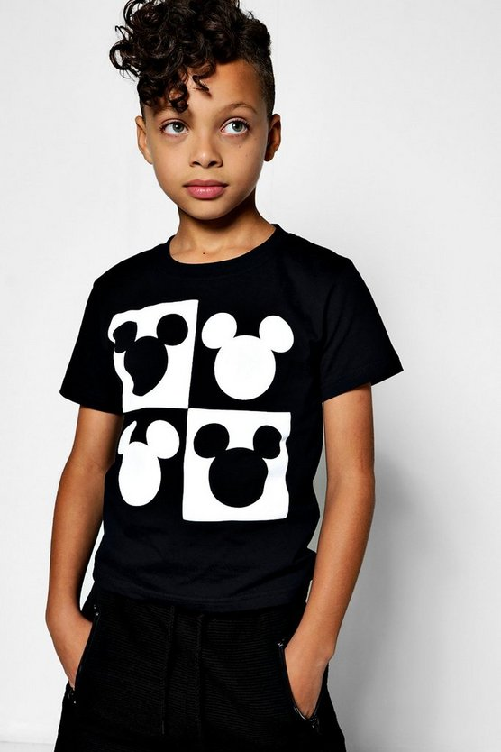 Boys Disney Mickey Head Squares Tee