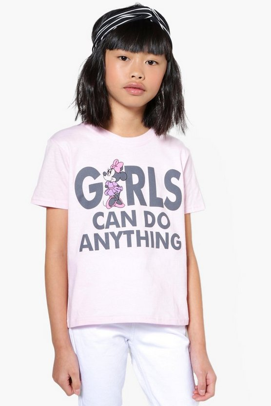 Girls Disney Minnie Girls Can Do Anything Tee