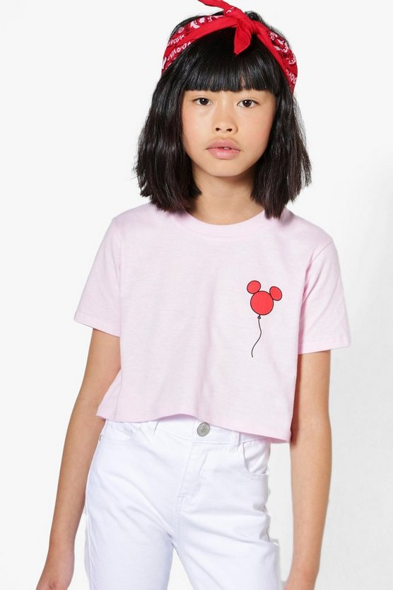 Girls Disney Minnie Balloon Crop Tee
