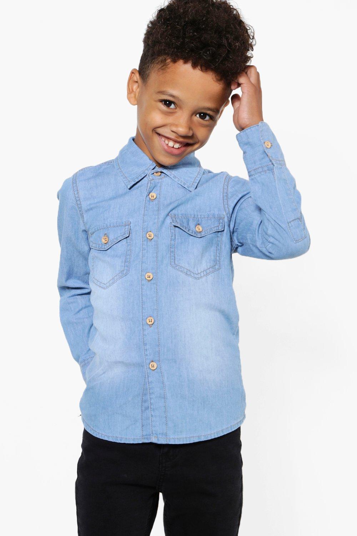 a8a6479af Mens Blue Boys Denim Shirt. Hover to zoom