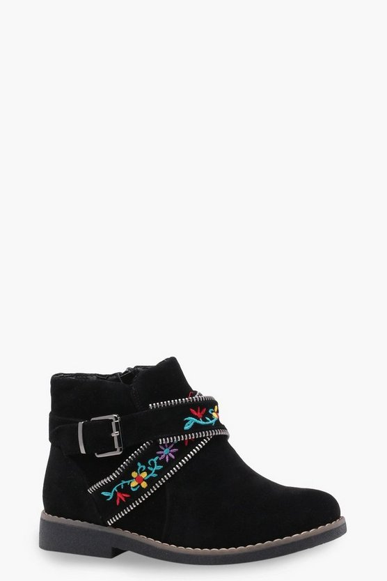 Girls Floral Embroidered Strap Boot
