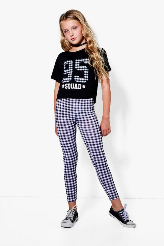 Girls 95 Squad Gingham Set, Black, MUJER