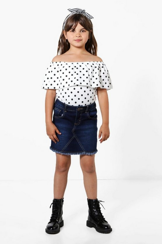 Girls Fray Edge Denim Skirt