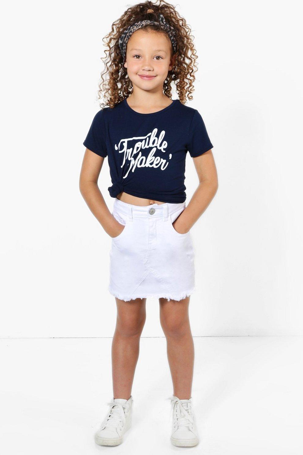30d30660a Womens White Girls Fray Edge Denim Skirt