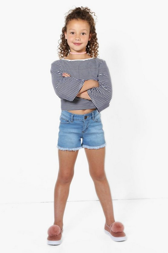 Girls Fray Edge Denim Hot pants