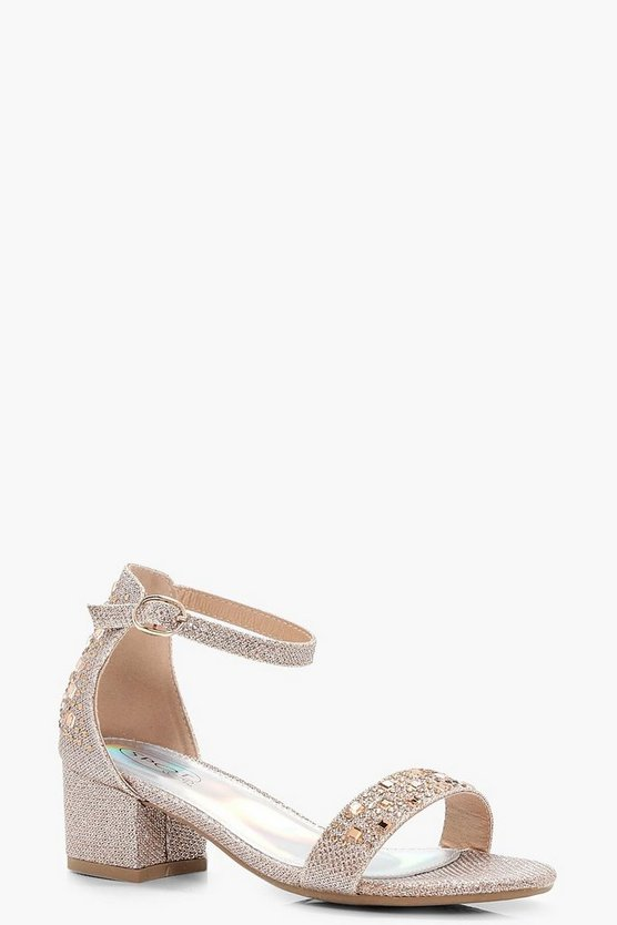 Girls Glitter Block Heel Two Part Sandal