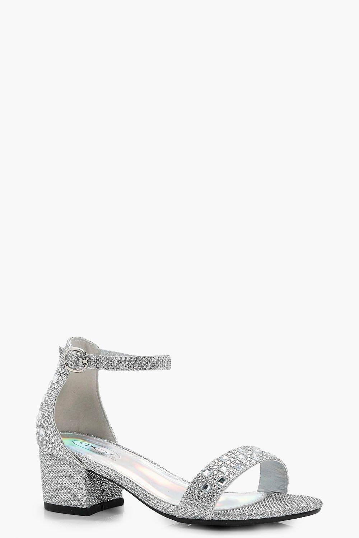 2e9443b1266 Girls Glitter Block Heel Two Part Sandal | Boohoo