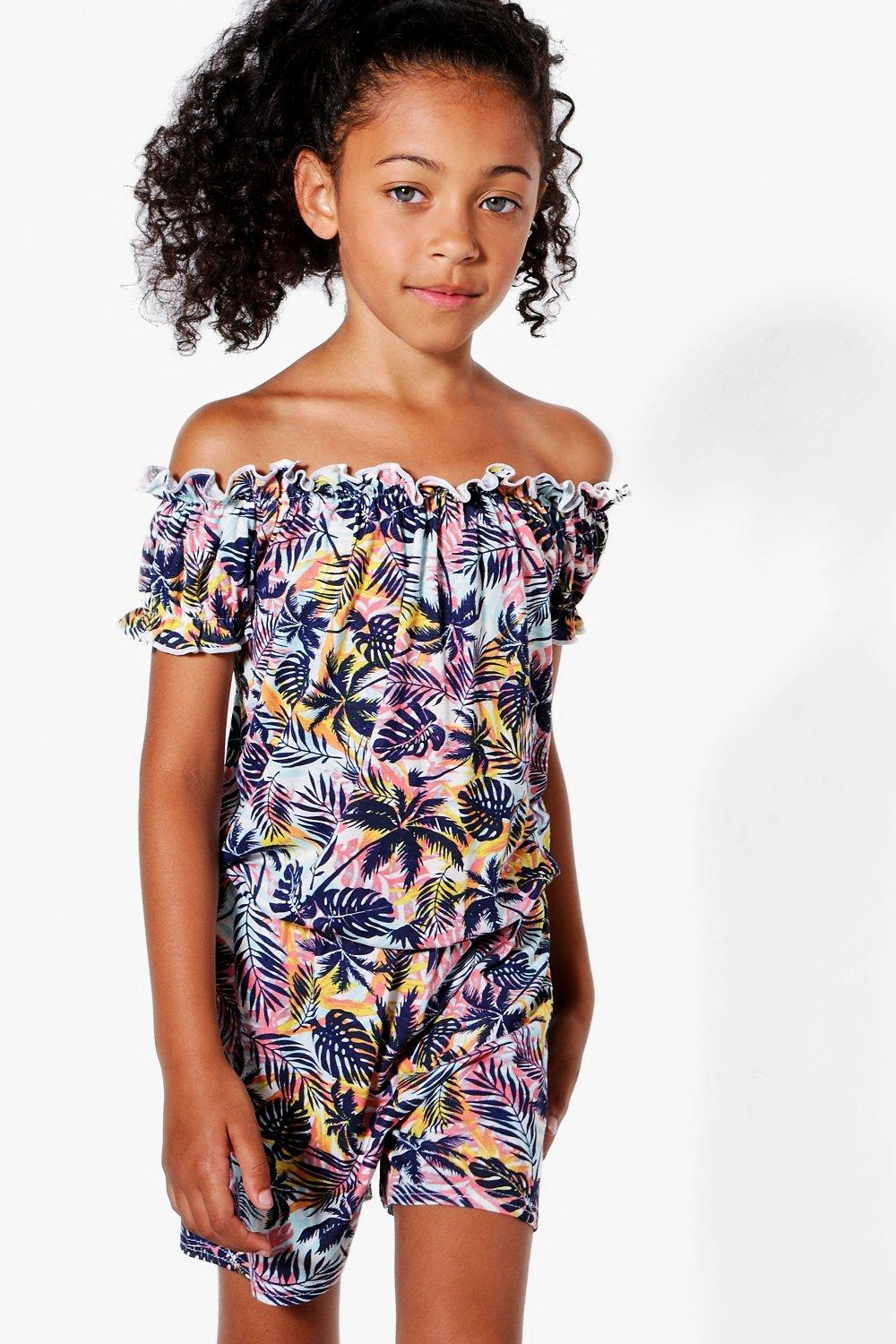 5d541b4e7473 Girls Tropical Palm Print Bardot Playsuit. Hover to zoom