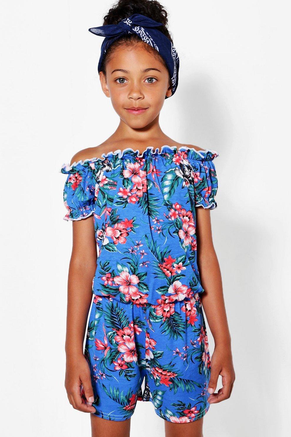 1f0129b341af Girls Tropical Print Bardot Playsuit