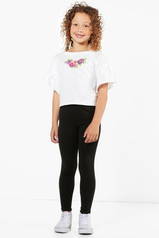 Girls Embroidered Crop Top & Legging Set