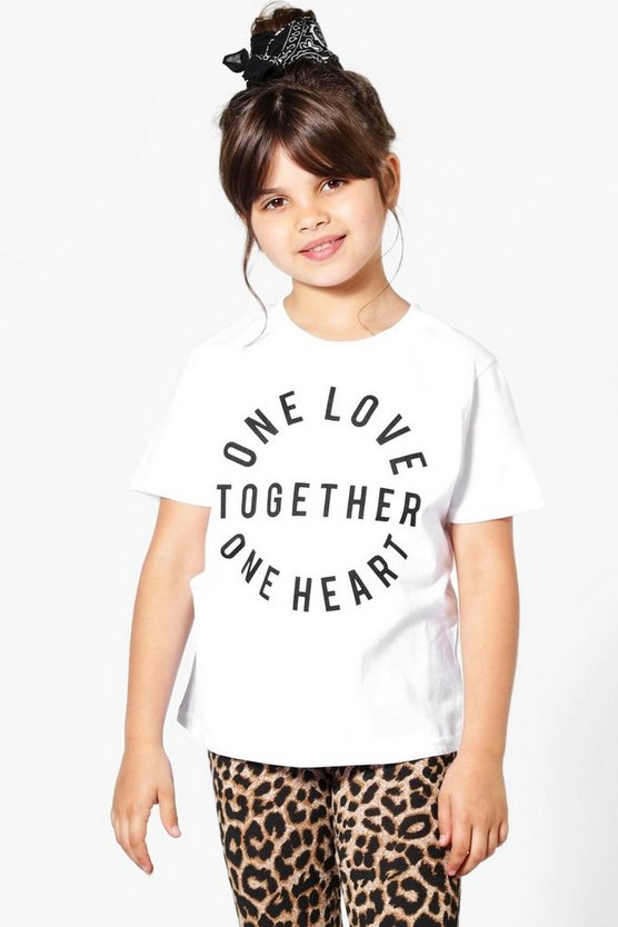 Womens White Charity Girls One Love One Heart T-Shirt