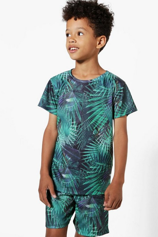 Boys Palm Print T-Shirt & Shorts Set