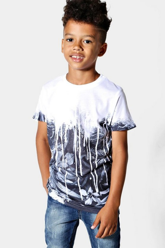 Boys Faded Palm Print Sublimation Tee