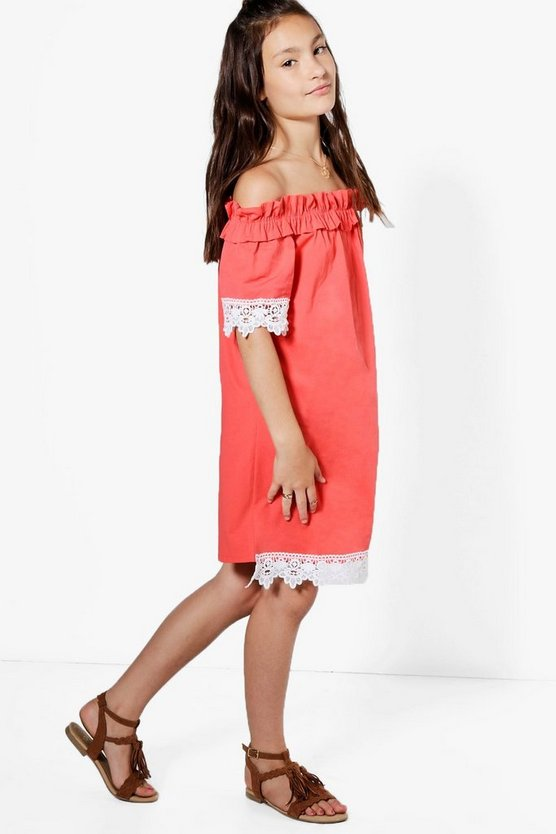 Girls Lace Sleeve & Hem Bardot Woven Dress