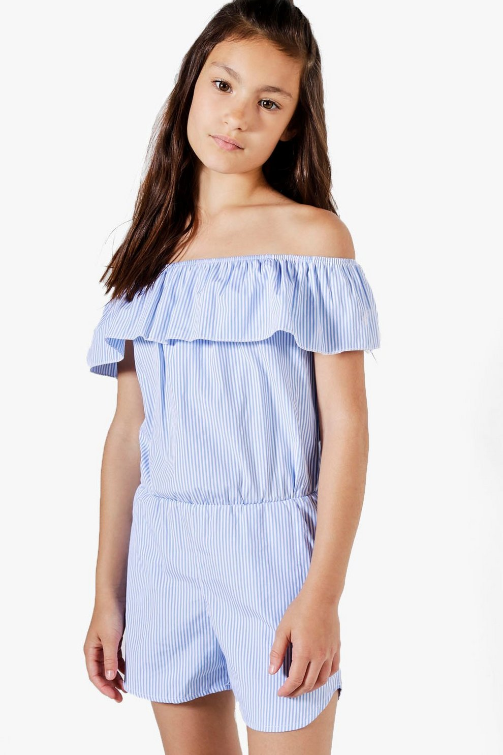 0c79663b542 Girls Pinstripe Frill Bardot Playsuit