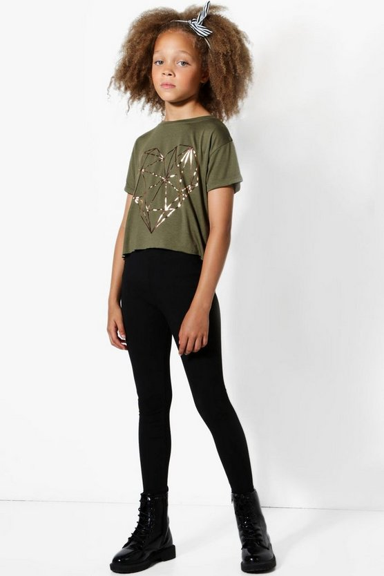 Girls Heart Foil Print Tee & Legging Set