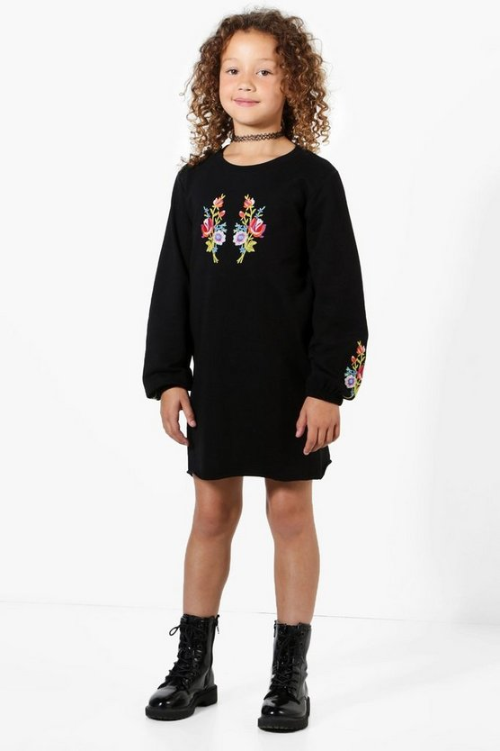 Girls Embroidered Balloon Sleeve Sweat Dress