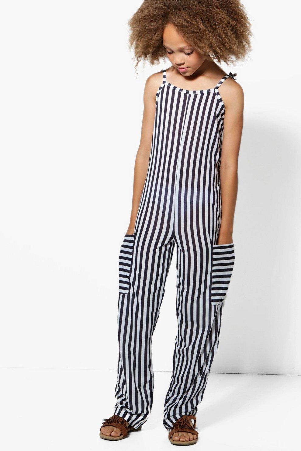 f3c3bf7fda Girls Stripe Jumpsuit | Boohoo