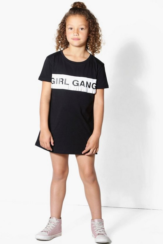 Girls Girl Gang Fringe T-Shirt Dress
