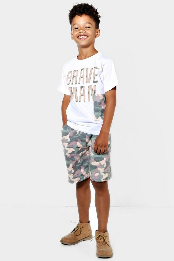 Boys Brave Man Camo Short Set