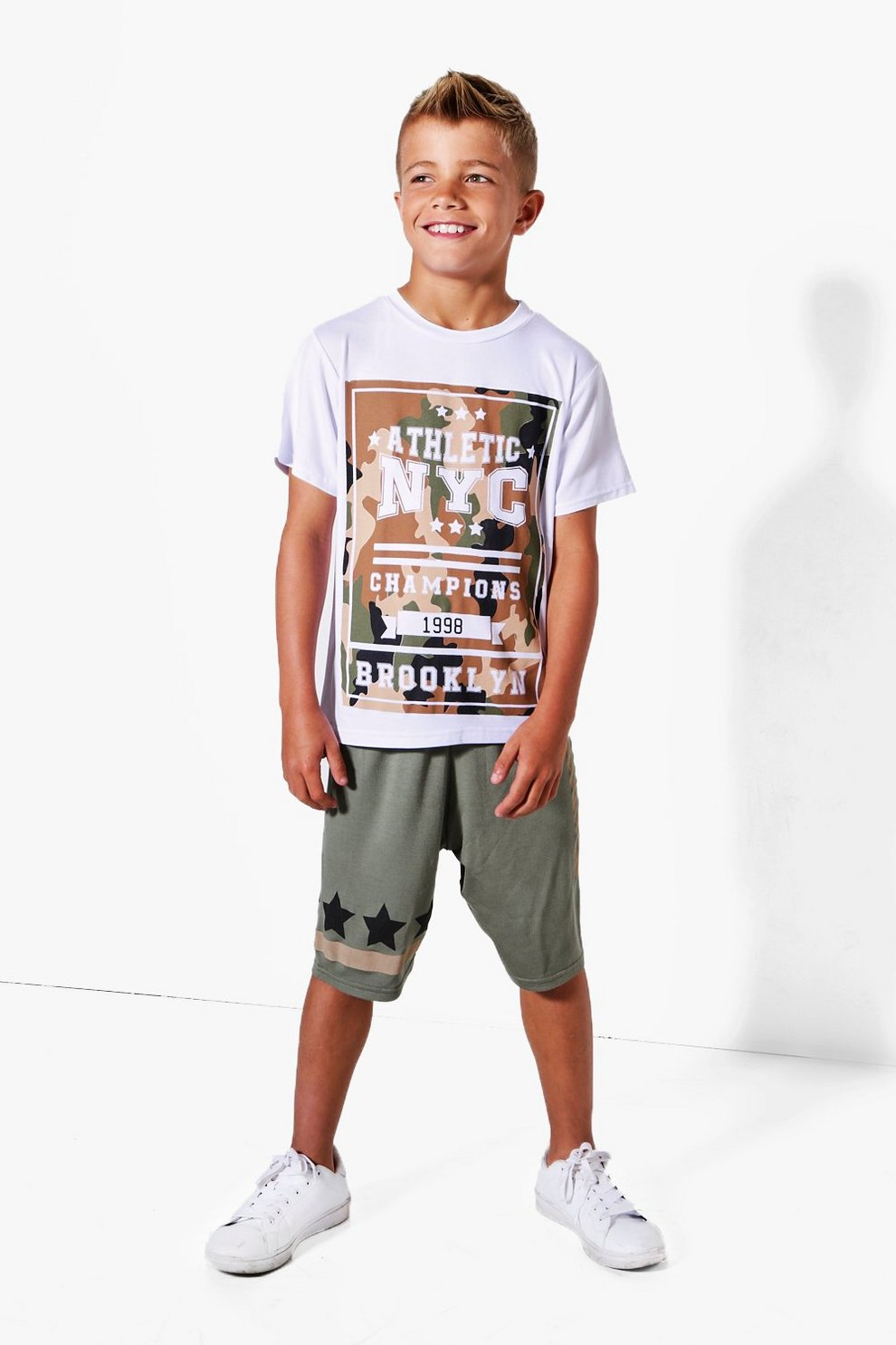 3b4e16b9 Mens White Boys NYC Camo Star Tee And Short Set. Hover to zoom