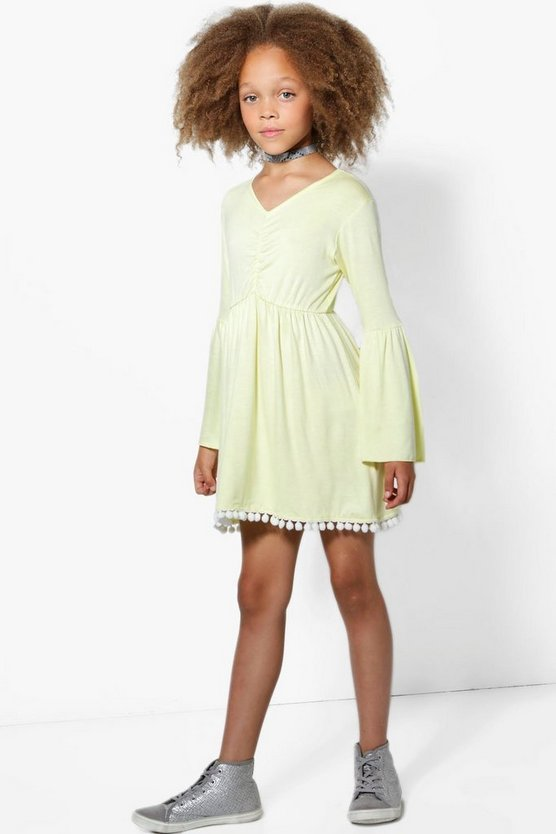 Girls Pom Pom Hem Dress